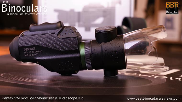 Macro Stand V-MS1 on the Pentax VM 6x21 WP Monocular & Microscope