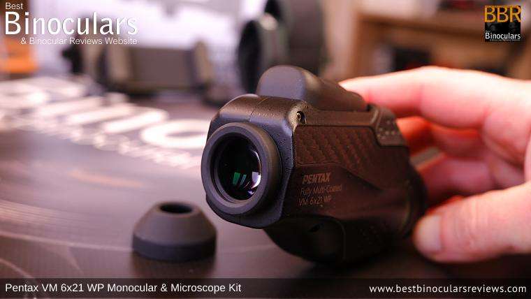 Removable eyecup on the Pentax Monocular