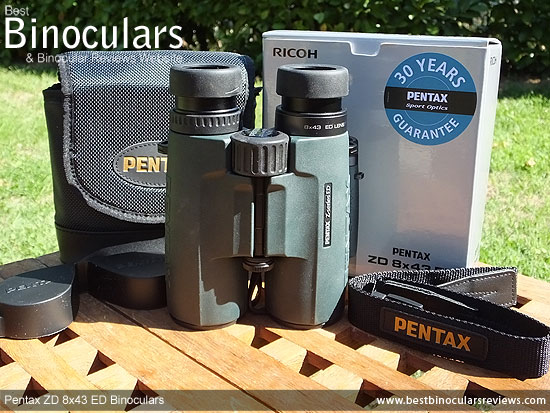 Pentax ZD 8x43 ED Binoculars with neck strap, carry case and rain-guard