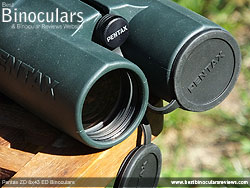 Lens Covers on the Pentax ZD 8x43 ED Binoculars