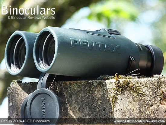 43mm Objective lenses on the Pentax ZD 8x43 ED Binoculars