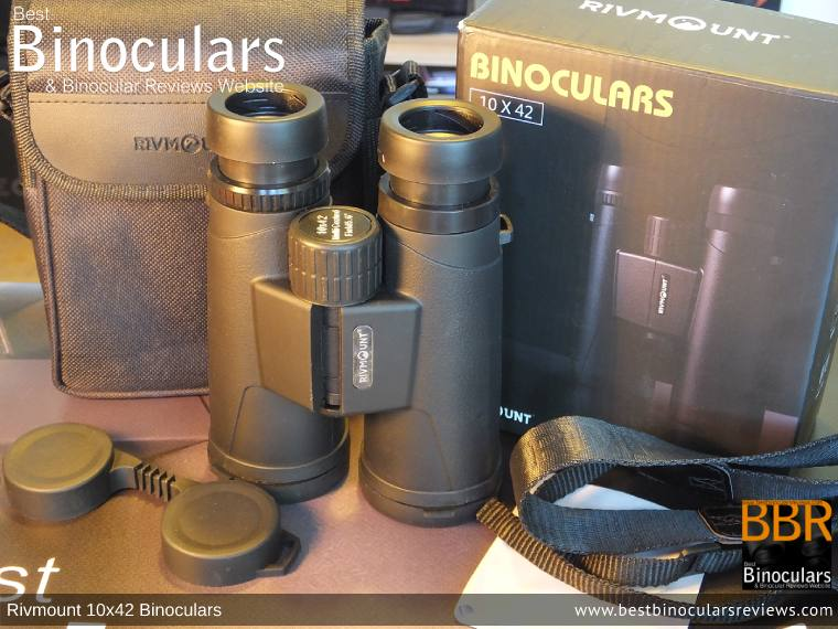 Rivmount 10x42 Binoculars with neck strap, carry case and lens covers