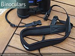 Neck strap on the Snypex Knight D-ED 10x32 Binoculars