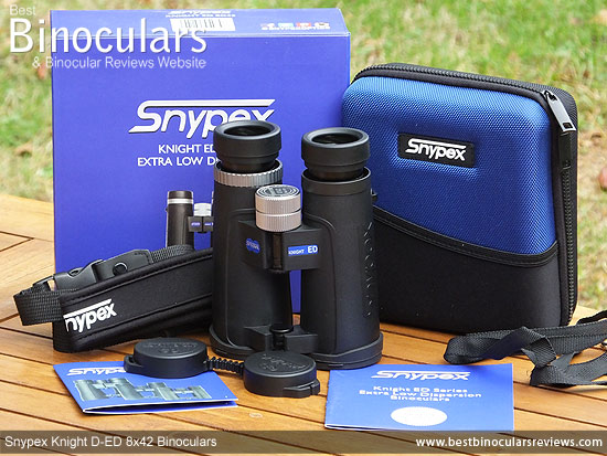 Snypex Knight D-ED 8x42 Binoculars with neck strap, carry case and rain-guard