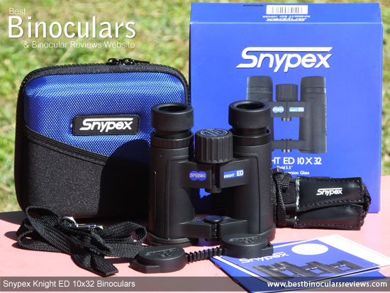 Snypex Knight ED 10x32 Binoculars with neck strap, carry case and rain-guard