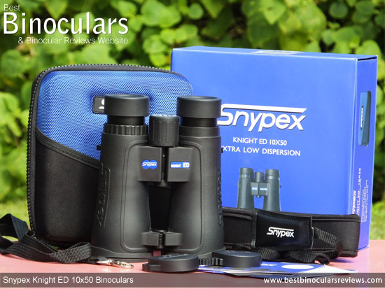 Snypex Knight ED 10x50 Binoculars with neck strap, carry case and rain-guard