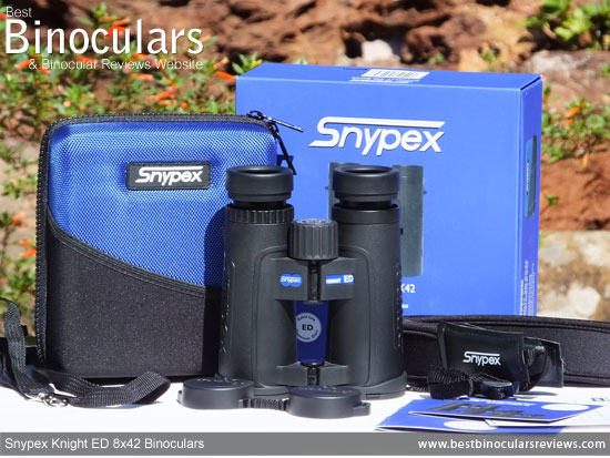 Snypex Knight ED 8x42 Binoculars with neck strap, carry case and rain-guard
