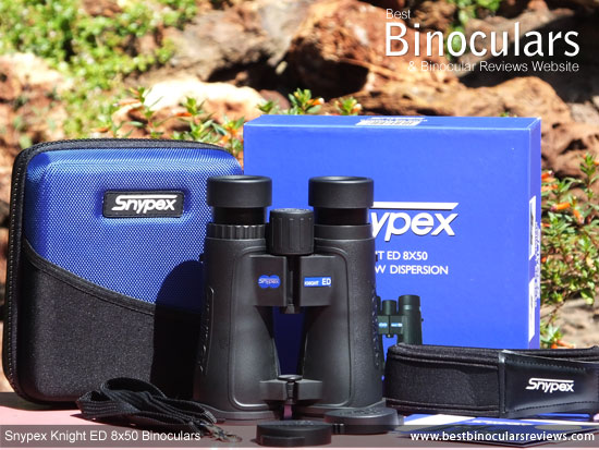Snypex Knight ED 8x50 Binoculars with neck strap, carry case and rain-guard