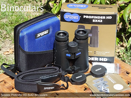 Snypex Profinder HD 8x42 Binoculars with neck strap, carry case and lens covers