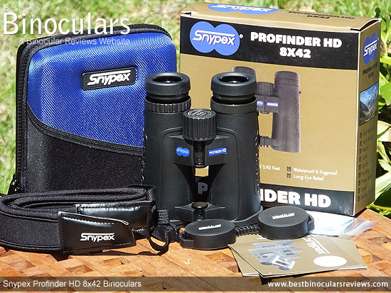 Carry Case, Neck Strap, Cleaning Cloth, Lens Covers & the the Snypex Profinder HD 8x42 Binoculars