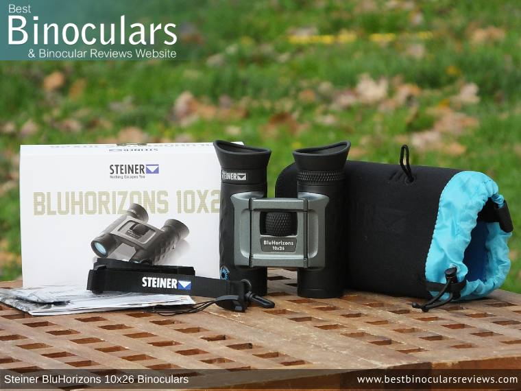 Carry Case, Neck Strap, Cleaning Cloth, Lens Covers & the Steiner BluHorizons 10x26 Binoculars
