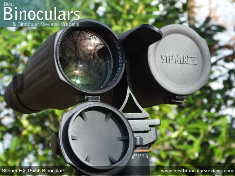 Objective Lens Covers on the Steiner HX 15x56 Binoculars