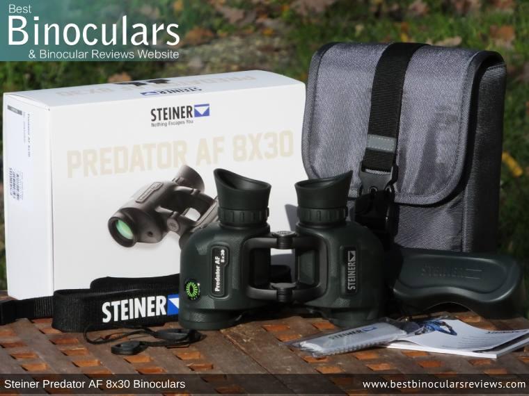 Steiner Predator AF 8x30 Binoculars and accessories plus packaging