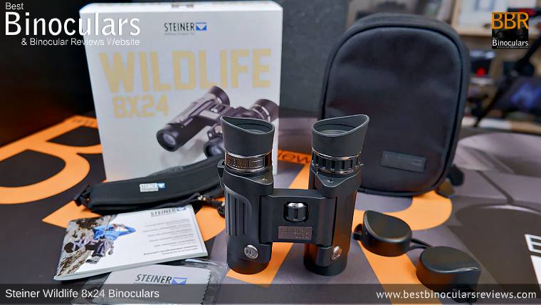 Carry Case, Neck Strap, Cleaning Cloth, Lens Covers & the Steiner Wildlife 8x24 Binoculars