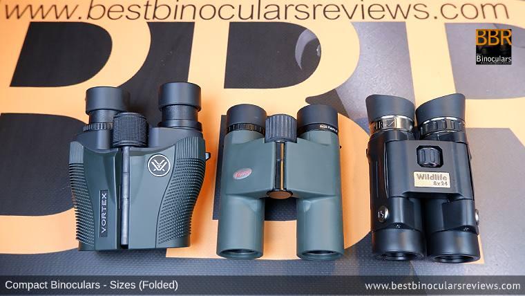 Compact Binocular Size Comparison (Folded): Vortex Vanquish 10x26 vs Kowa BD 8x25 vs Steiner Wildlife 8x24 Binoculars