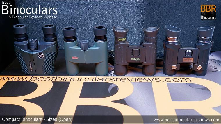 Compact Binocular Size Comparison (Open): Vortex Vanquish 10x26 vs Kowa BD 8x25 vs Steiner Wildlife 10x26 vs Steiner Wildlife 8x24 Binoculars
