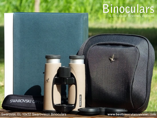 Swarovski EL 10x32 Binoculars with carry case, neck strap and lens covers