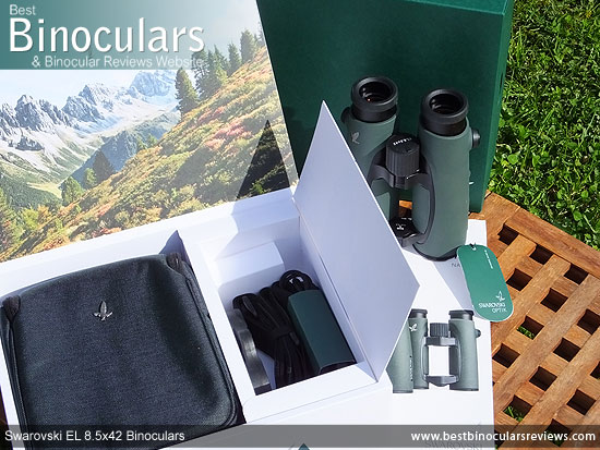Swarovski EL 8.5x42 Binoculars with neck strap, carry case and rain-guard