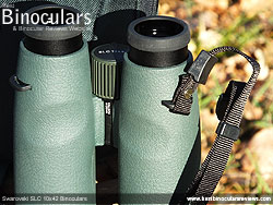Attaching the neck strap to the Swarovski SLC 10x42 Binoculars