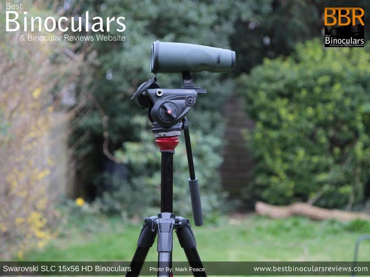 Swarovski SLC 15x56 HD Binoculars mounted on a Tripod