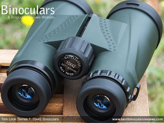 Eyecups & Focussing wheel on the Tom Lock Series 1 10x42 Binoculars