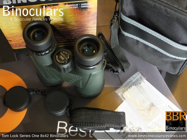 Tom Lock Series One 8x42 Binoculars with neck strap, carry case and lens covers