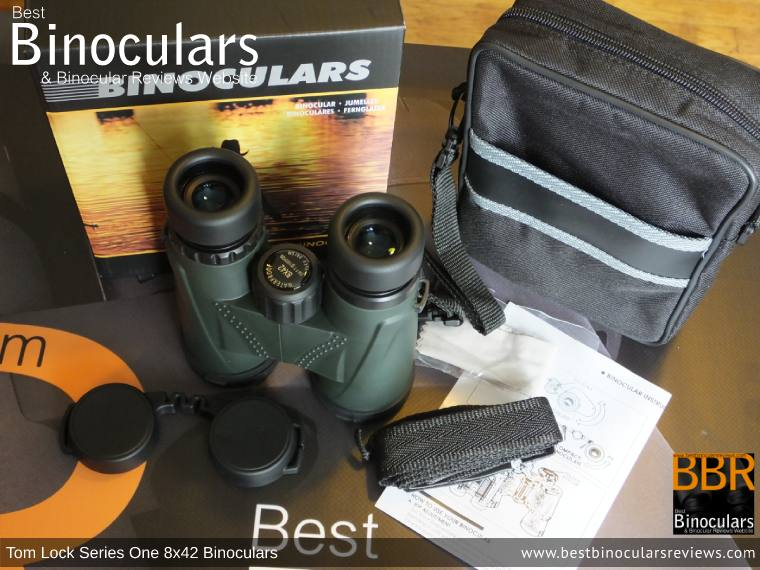 Carry Case, Neck Strap, Cleaning Cloth, Lens Covers & the Tom Lock Series One 8x42 Binoculars