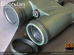 Objective Lens Covers on the Tom Lock Series One 8x42 Binoculars