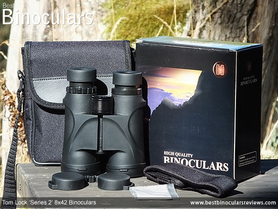 Tom Lock Series 2 8x42 Binoculars with neck strap, carry case and rain-guard