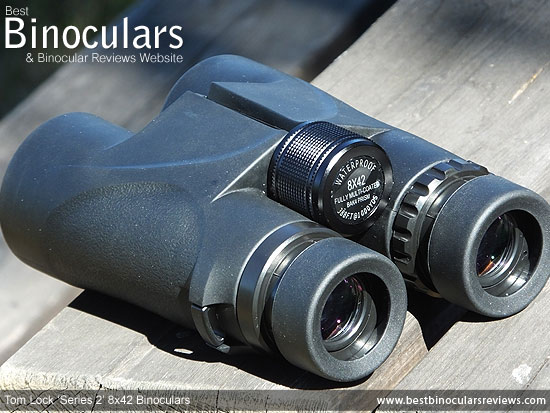 Focus Wheel on the Tom Lock Series 2 8x42 Binoculars