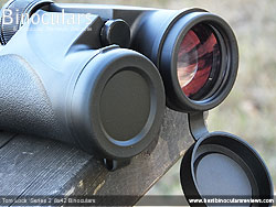 Objective Lens Covers on the Tom Lock Series 2 8x42 Binoculars