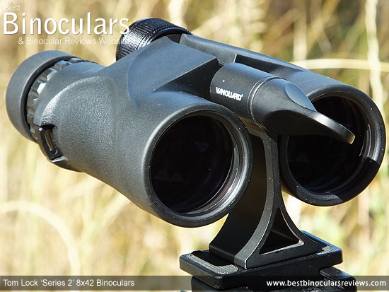 Tom Lock Series 2 8x42 Binoculars mounted on a tripod