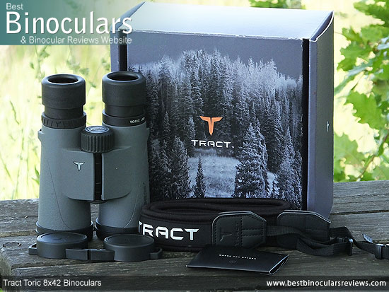 Carry Case, Neck Strap, Cleaning Cloth, Lens Covers & the Tract Toric 8x42 Binoculars