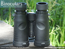 Underside of the Upland Optics Perception HD 10x42 Binoculars