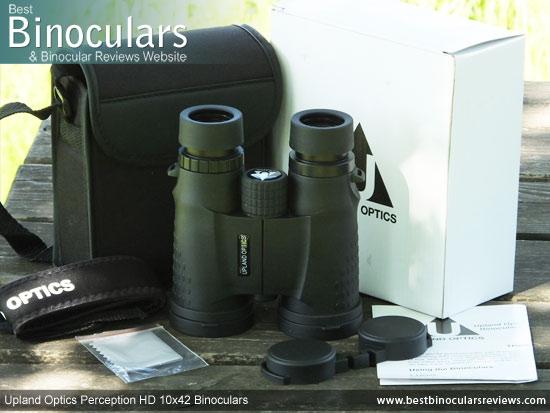 Upland Optics Perception HD 10x42 Binoculars with box and accessories