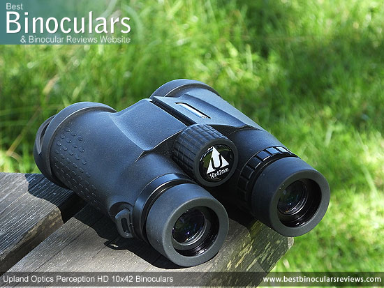 Focus Wheel on the Upland Optics Perception HD 10x42 Binoculars