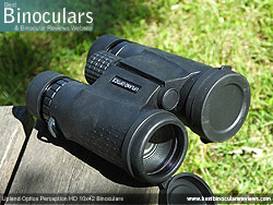 Objective Lens Covers on the Upland Optics Perception HD 10x42 Binoculars