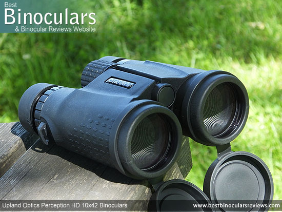42mm objective lenses on the Upland Optics Perception HD 10x42 Binoculars