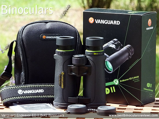 Vanguard Endeavor ED II Binoculars with neck strap, carry case and rain-guard