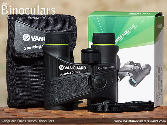 Vanguard Orros 10x25 Binoculars with neck strap and case