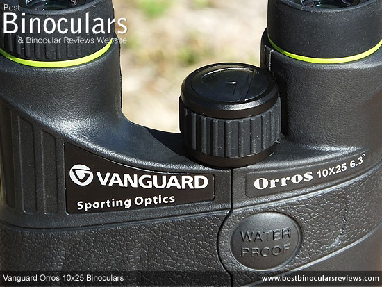 Focus Wheel on the Vanguard Orros 10x25 Binoculars