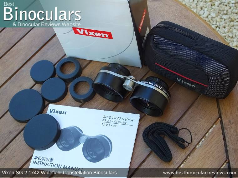 Vixen SG 2.1x42 Binoculars with neck strap, carry case and lens covers