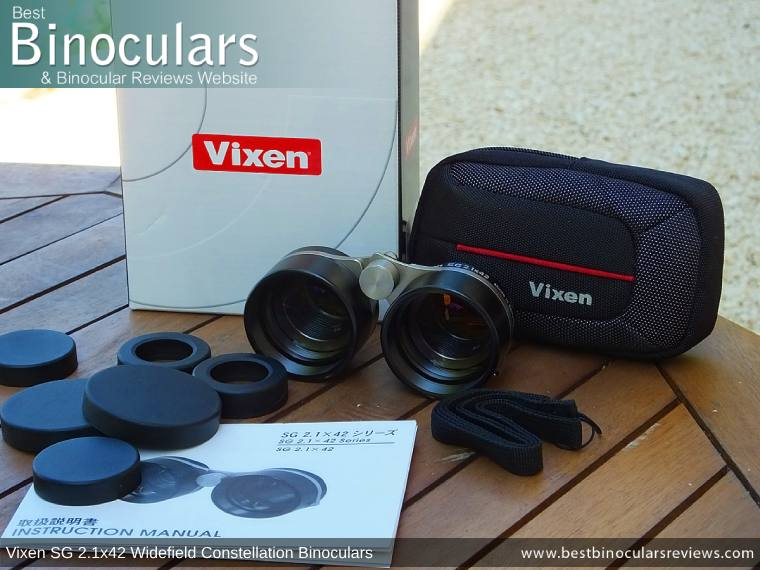 Carry Case, Neck Strap & Lens Covers with the Vixen SG 2.1x42 Binoculars