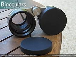Objective Lens Covers on the Vixen SG 2.1x42 Binoculars