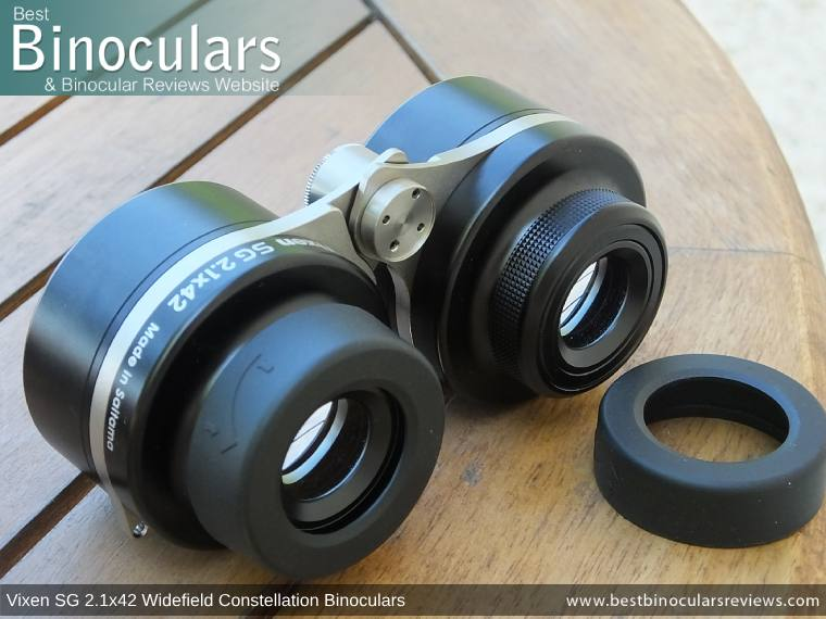 Eyecups on the Vixen SG 2.1x42 Binoculars