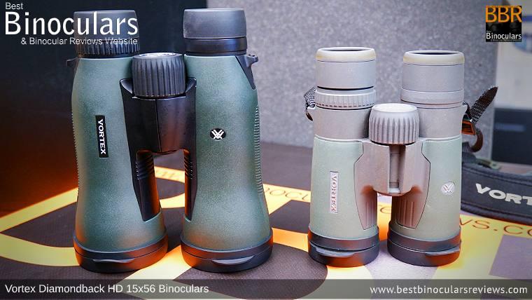 Comparing Sizes: Vortex Diamondback HD 15x56 Binoculars vs 8x42mm Vortex Razor HD Binoculars