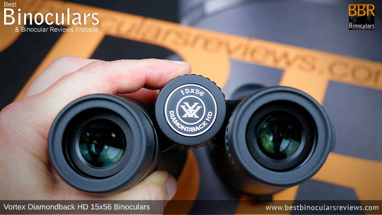 Focusing Wheel on the Vortex Diamondback HD 15x56 Binoculars