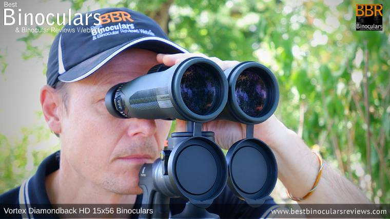 Looking through the Vortex Diamondback HD 15x56 Binoculars mounted on a tripod