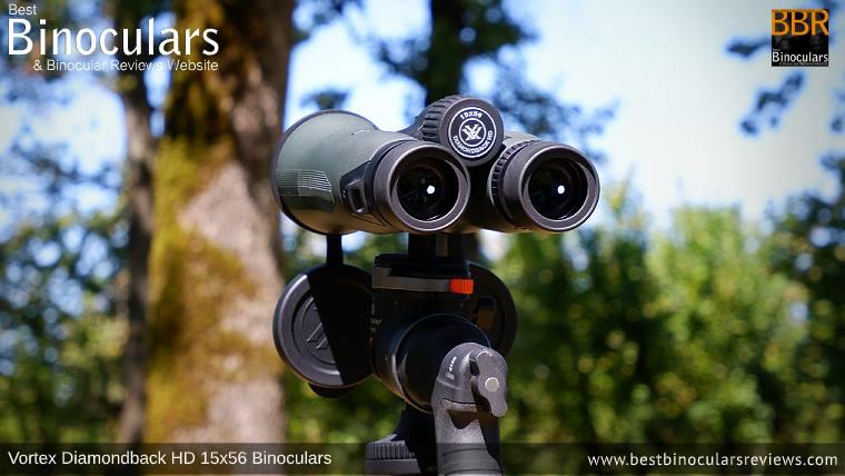 Vortex Diamondback HD 15x56 Binoculars mounted on a Tripod