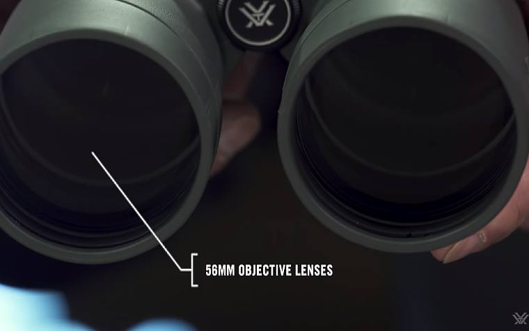 Large 56mm lenses on the Vortex Kaibab HD 18x56 Binoculars